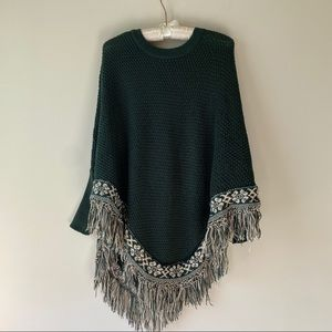 Forest Green Poncho with Sleeves and Fringe One Sz
